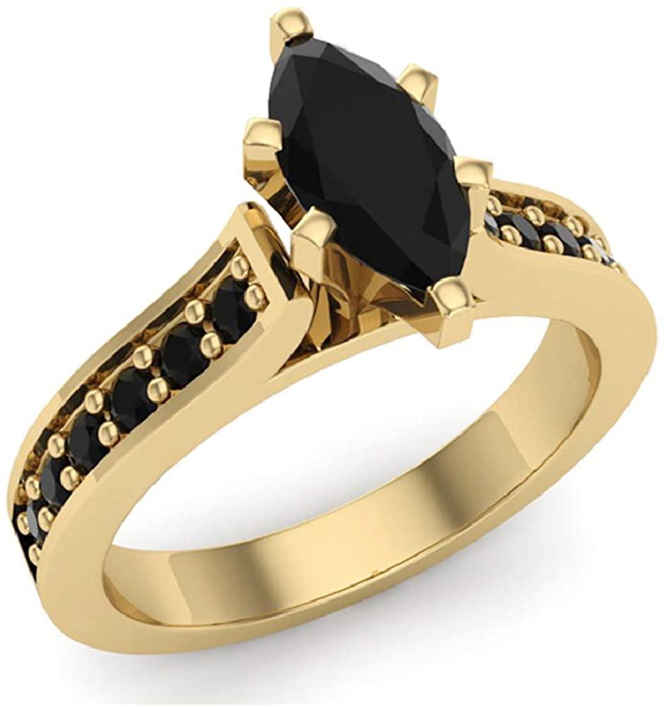 Marquise Cut Black Diamond Ring 14K Gold 1.50 carat tw