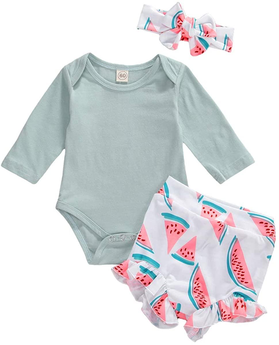 Newborn Baby Girl Summer Clothes Ruffle Sleeveless Solid Romper+Bowknot Floral Shorts+Headband 3PCS Outfits Set
