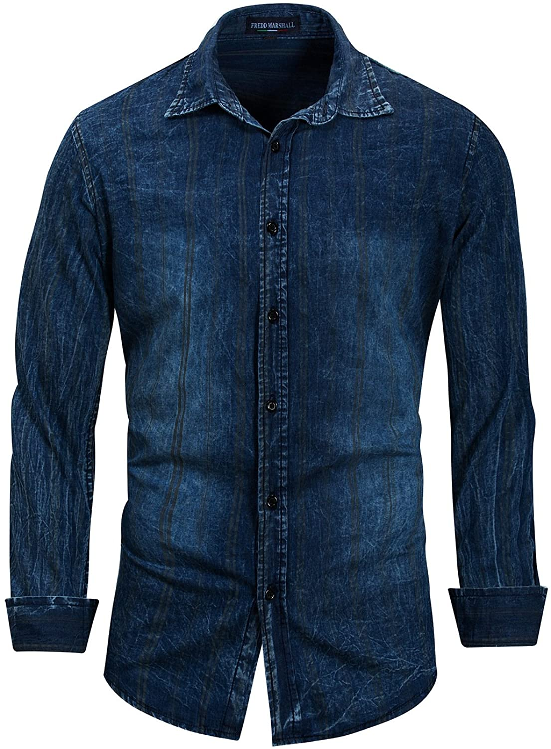Men's Button-Down Collar Long Sleeve Jeans Blue Cotton Classical Style Casual Dress Shirts