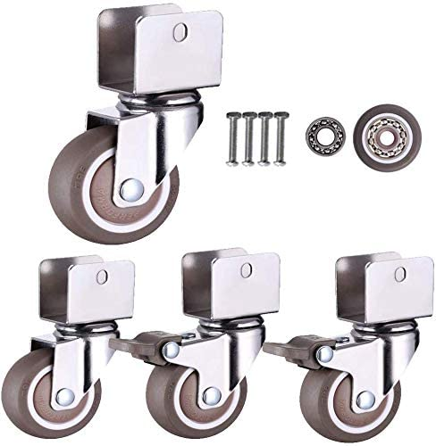 Swivel castors for children's beds with U-shaped bracket 1.25 inch 32 mm rubber furniture roller with brakes dampers ball bearings load capacity 60 kg set of 4 with screws (18 mm U br