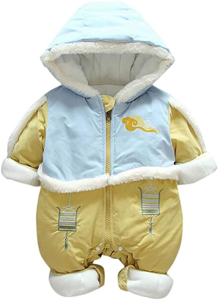 MEOILCE Baby Boy Girl Winter Hooded Snowsuit Romper Zipper Bodysuit Winter Warm Infant Jumpsuit Jacket 0-12 Months