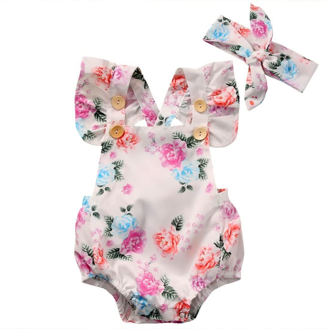Cute Baby Girls 2 Pc Floral Sunsuit Headband One-Pieces Summer Romper Pink 9-24m