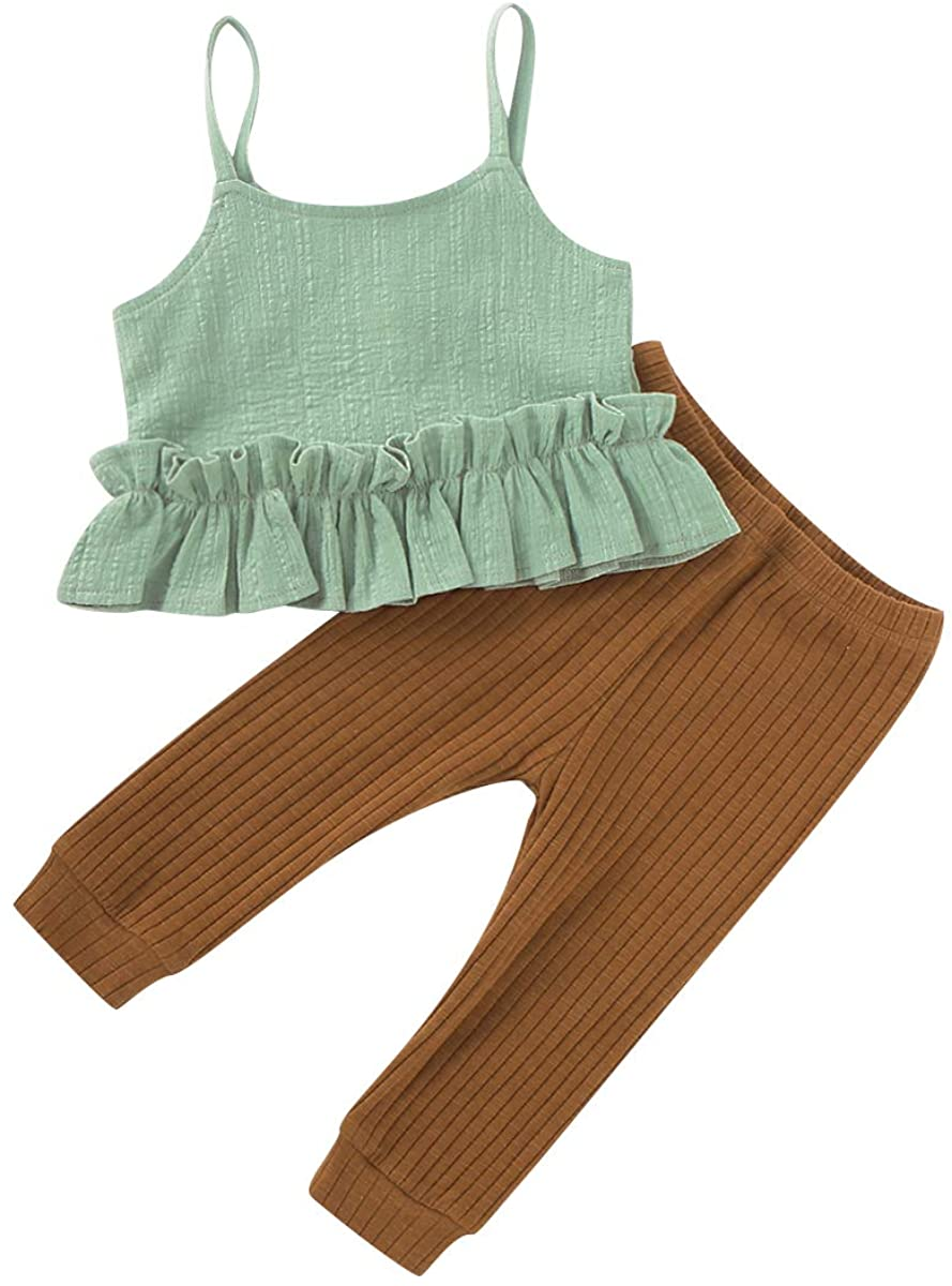 Toddler Infant Little Baby Girls Clothes Solid Color Sleeveless Sling Ruffle top with Striped Pants Outfit Set