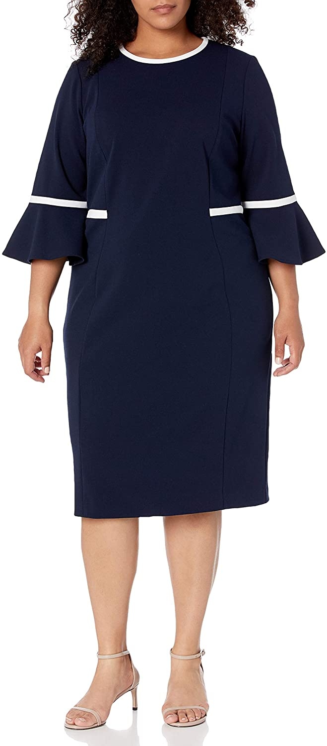 Calvin Klein Womens Plus Size Bell Sleeve Dress with Contrast Piping