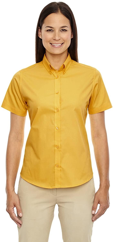 Core 365 Womens Optimum Short-Sleeve Twill Shirt (78194)- Campus Gold 444,Large