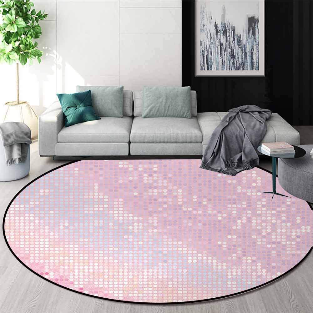 Modern Modern Machine Washable Round Bath Mat,Abstract Pattern in Pastel Pink Tones Disco Ball Style Party Theme Artwork Non-Slip Soft Floor Mat Home Decor Round-59 Inch,Light Pink Baby Pink