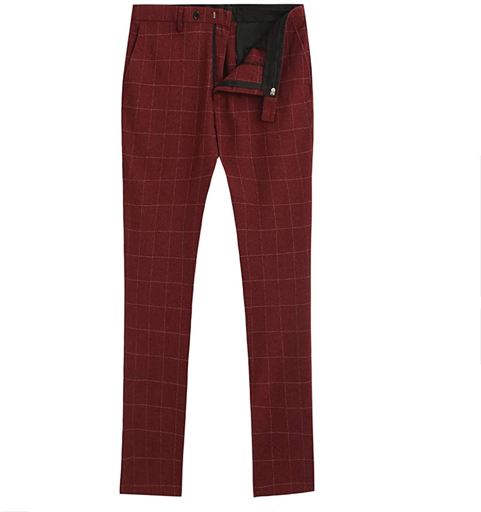Mens Pants Tweed Wool Blend Classic Trousers Plaid Dress Pants with Hidden Expandable Waist (Red,Custom Size