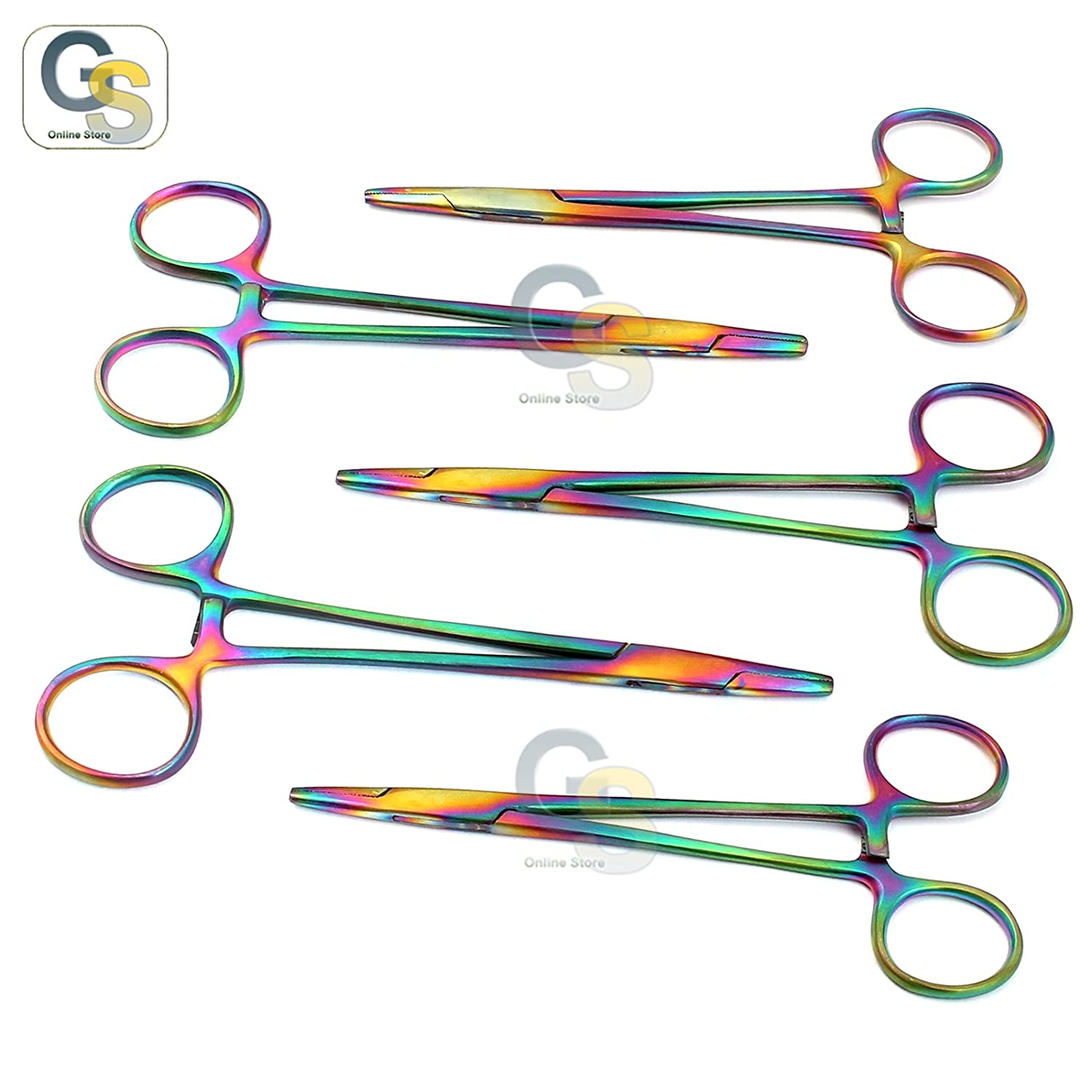 G.S Set of 5 Multi Titanium Color Rainbow Mayo HEGAR Needle Holder 5.5 Stainless Steel Best Quality