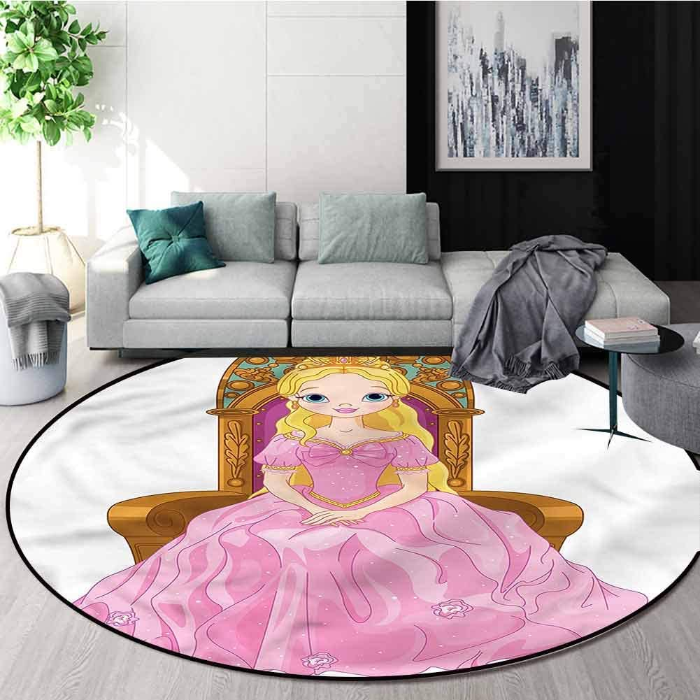 RUGSMAT Princess Modern Vintage Rugs,Girl Sitting On The Throne Design Non-Slip Fabric Round Rugs for Bedroom Diameter-35