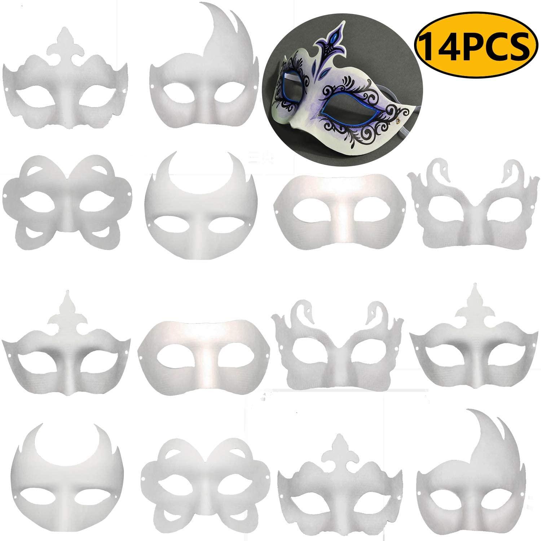 14 PCS DIY White Masks Paper Half Face Masquerade Masks Craft Mardi Gras Mask Plain Mask Paintable Blank Birthday Party Mask