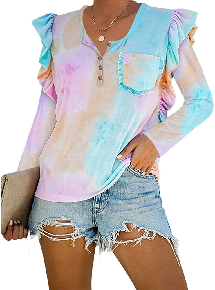 GAMISOTE Womens Color Block Long Sleeve T Shirt Ruffle Trim Button Up Elegant Tees Tops