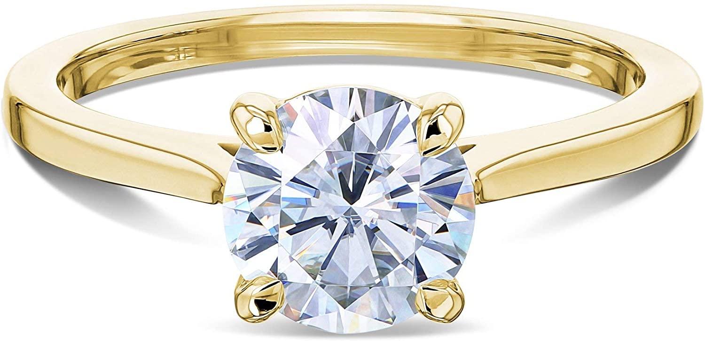 Kobelli 1ct Round Forever One Moissanite Solitaire Ring 14K Gold