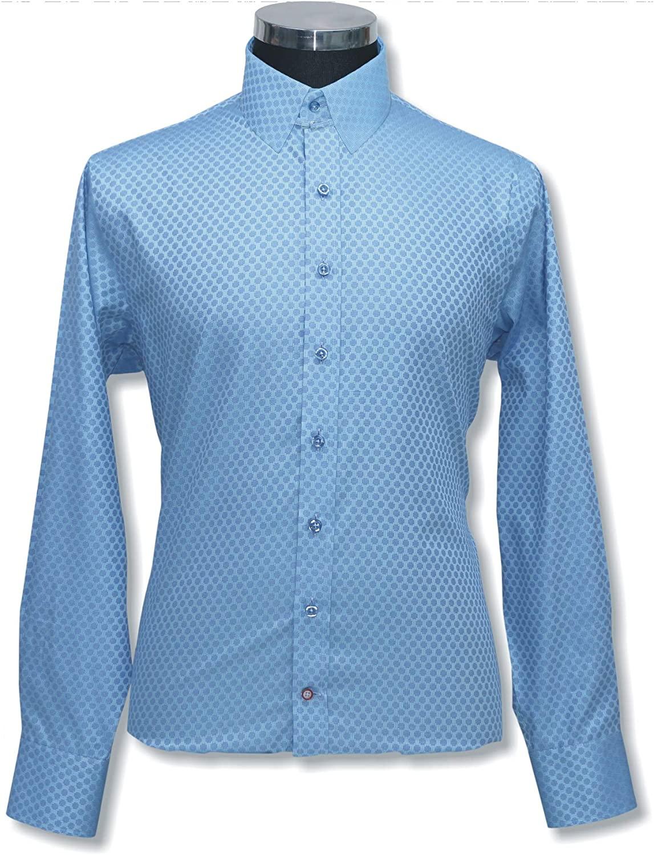 WhitePilotShirts Mens Tab Collar Sea Blue Jacquard Shirt 100% Cotton Loop Collar Long Sleeves Single Cuff Bond Gents 300-56