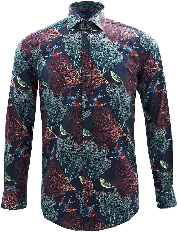 Guide London Autumn Birds On Leaves Print Pure Cotton Long Sleeve Mens Shirt
