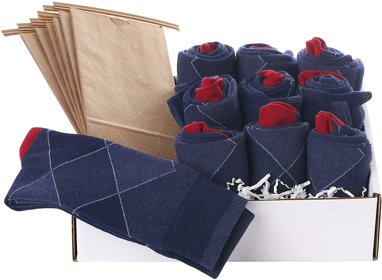 Groomsmen Socks Set - Saint Yuma - Men's Argyle - Navy Red - Cotton (10 pairs)