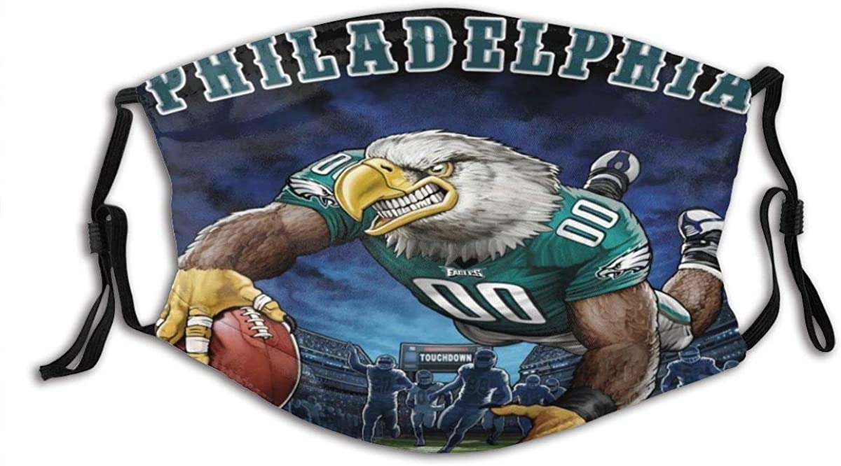 Philadelphia Eagles Unisex with Filter Anti-Dust Washable Reusable Mouth Warm Windproof Face Cover with Adjustable Earloop Face Cover Balaclavas …