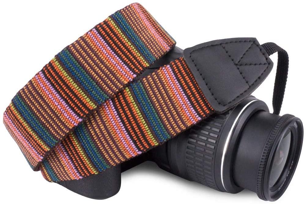 Wolven Pattern Canvas Camera Neck Shoulder Strap Belt Compatible With All DSLR/SLR/Men/Women etc, National Style 03
