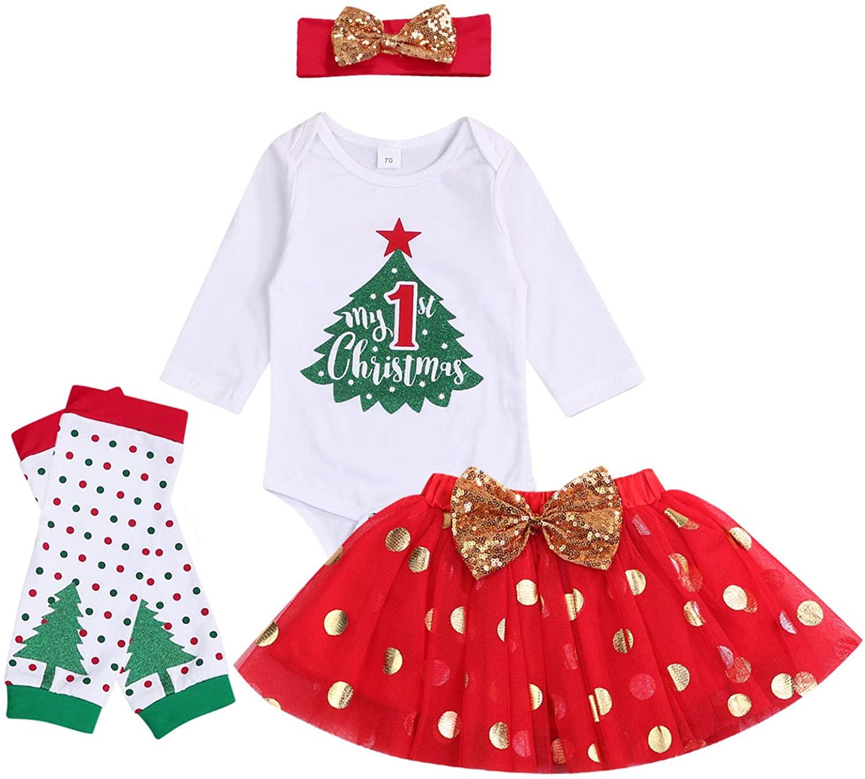 My 1st Christmas Baby Girls Clothes Sequin Tree Bow Print Romper Tulle Tutu Skirt Leggings Headband Newborn Xmas Outfit Set