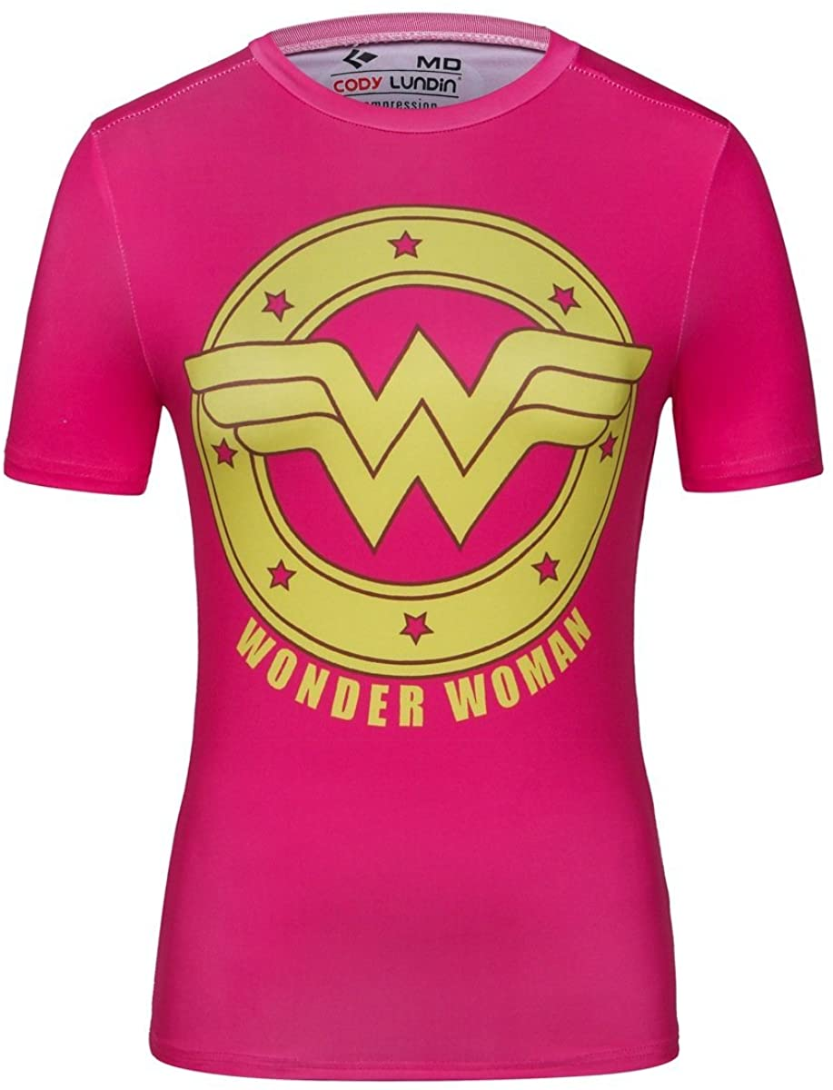 Red Plume Women's Compression Fitness Sport T-Shirt,Wonder Woman Short-Sleeve Pink