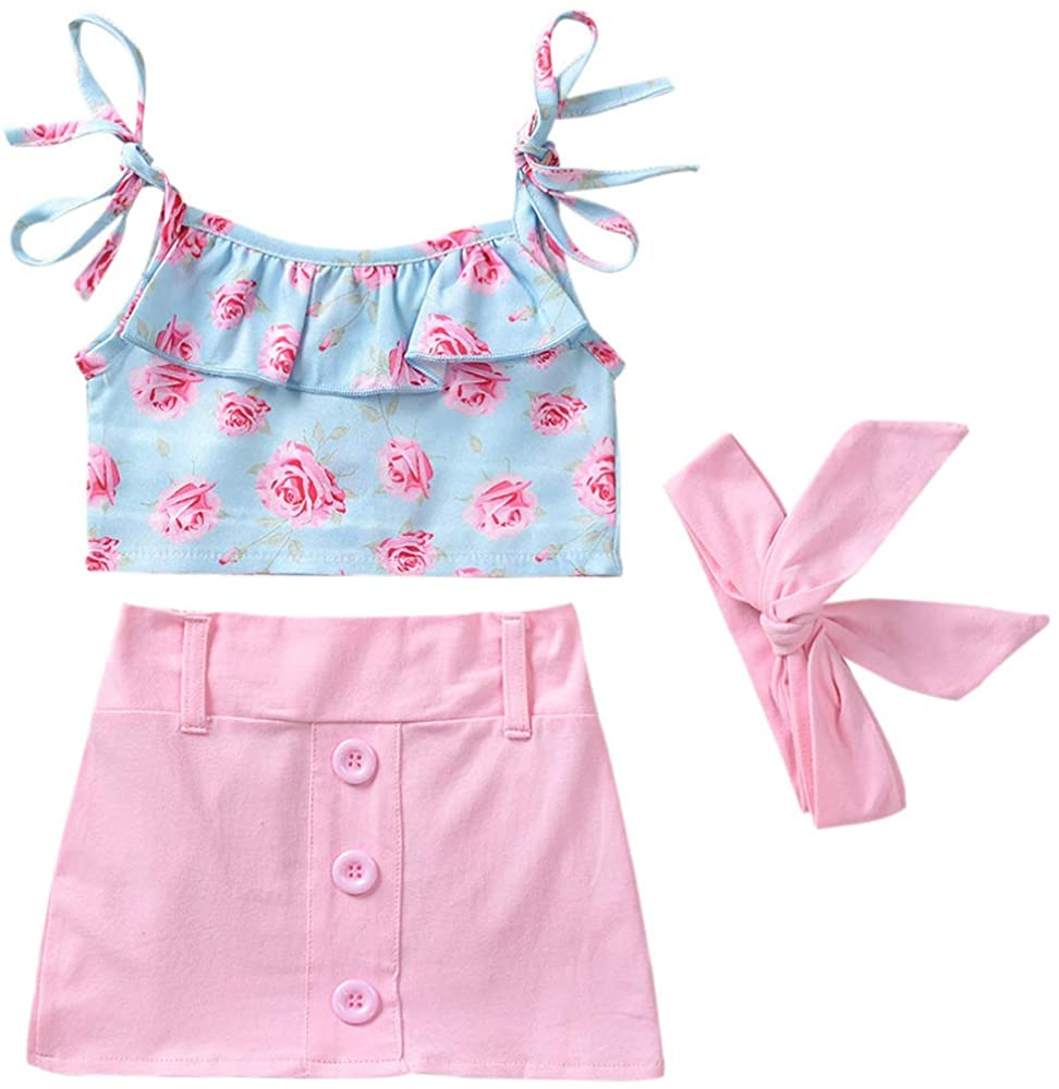Baby Girl 3pcs Outfits Ruffle Floral Top+Waistband+Mini Skirt Clothes Set