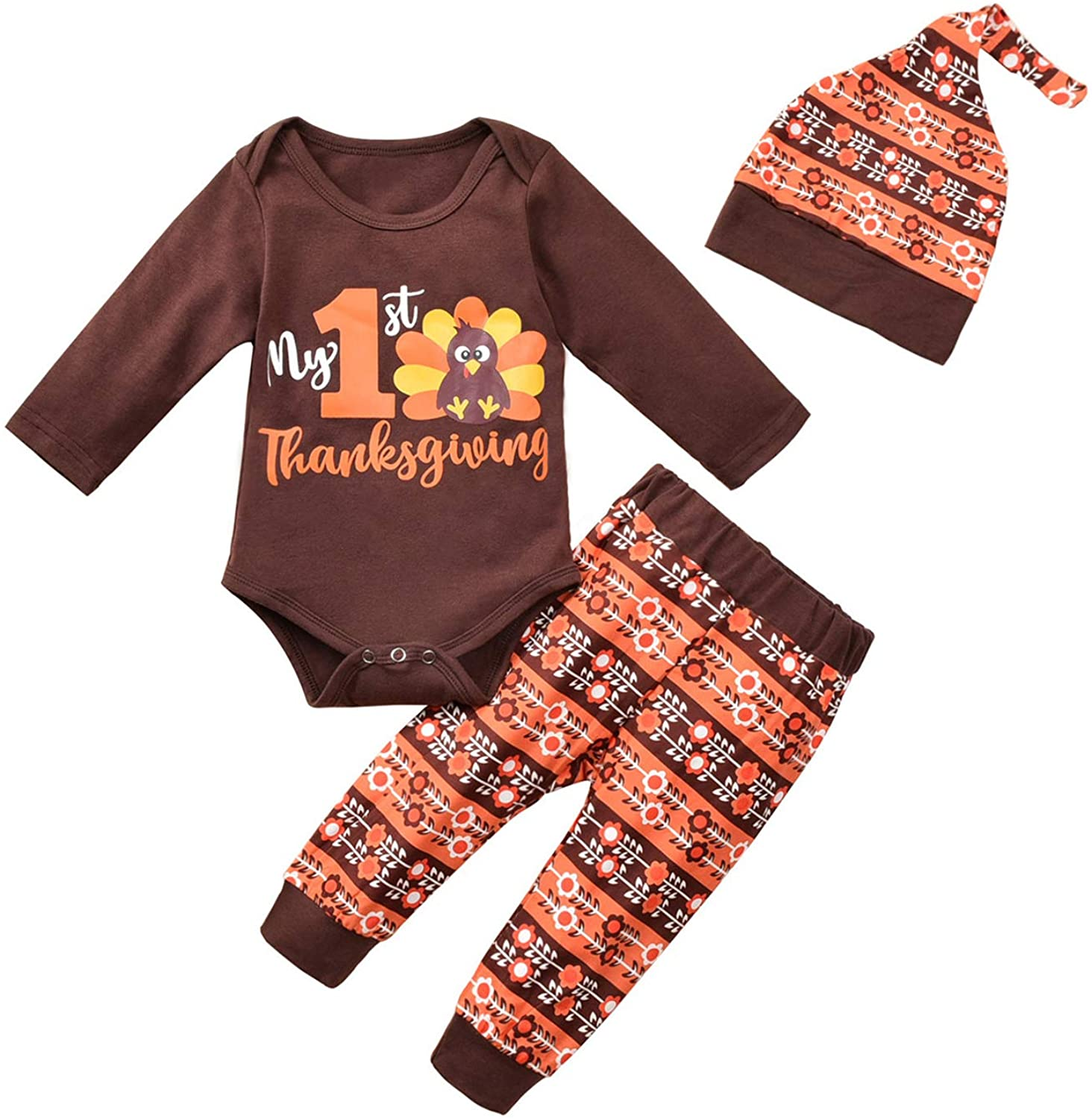 My 1st Thanksgiving Outfits Baby Boy Girl Turkey Print Romper Top+Long Pants and Hat 3Pcs Clothes Set