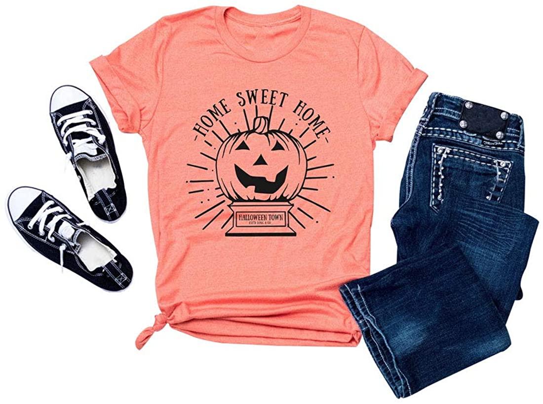 Halloween Shirts for Women Funny Sweet Home Pumpkin Graphic Tee Top