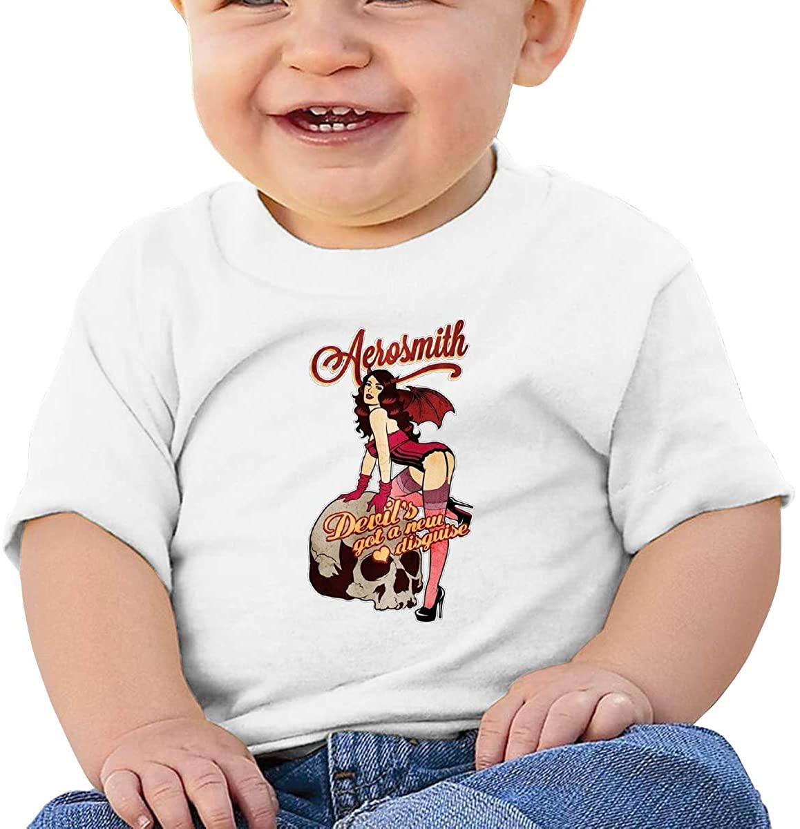 6-24 Months Boy and Girl Baby Short Sleeve T-Shirt Aerosmith Original Minimalist Style White