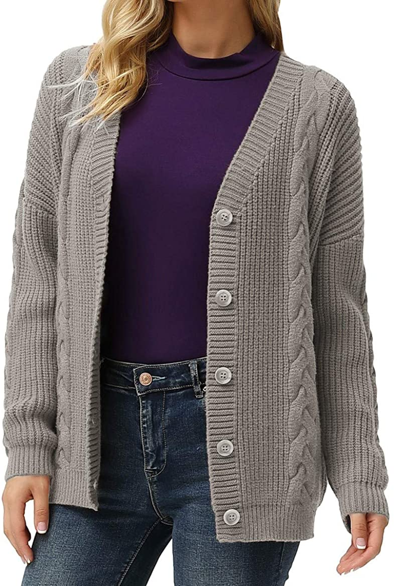 GRACE KARIN Women's Open Front Cable Knit Cardigan Button Down Sweater Knitwear