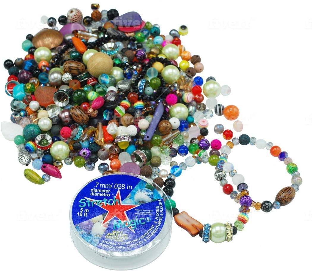Bangkok Bead Mixed Beads Assortment - 3 lbs of Bead Treasures Gemstones, Crystals, Glass, Seed Beads and More