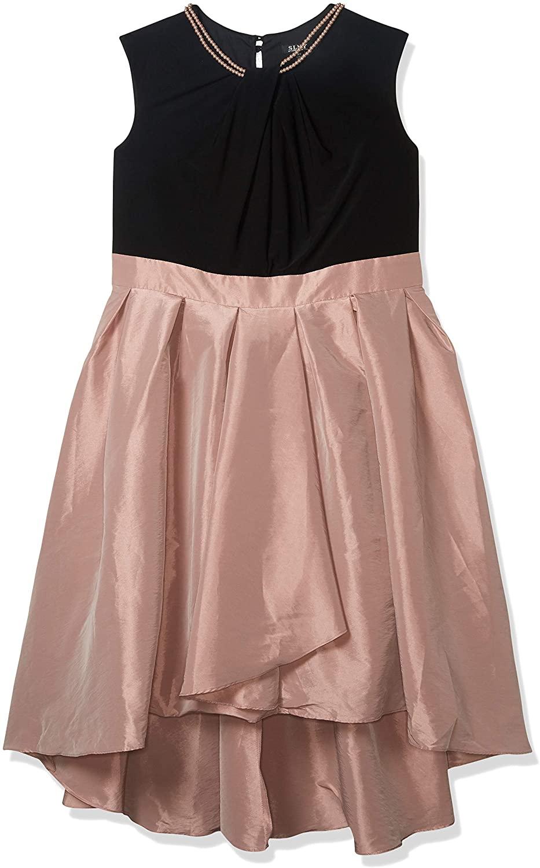 S.L. Fashions Women's Size Pearl Neck Taffetta Party Dress Plus