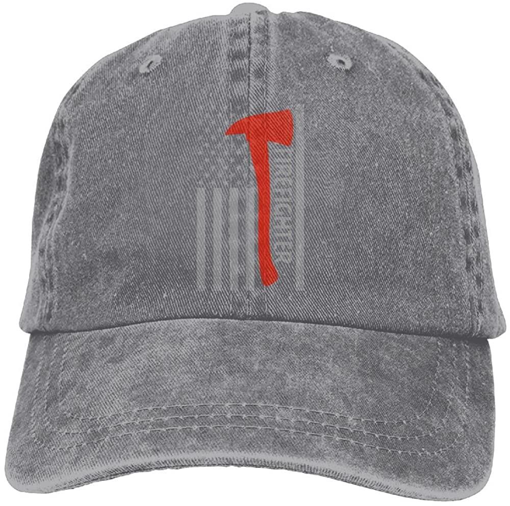 Firefighter Axe American Flag Adult Adjustable Denim Hat Baseball Cap