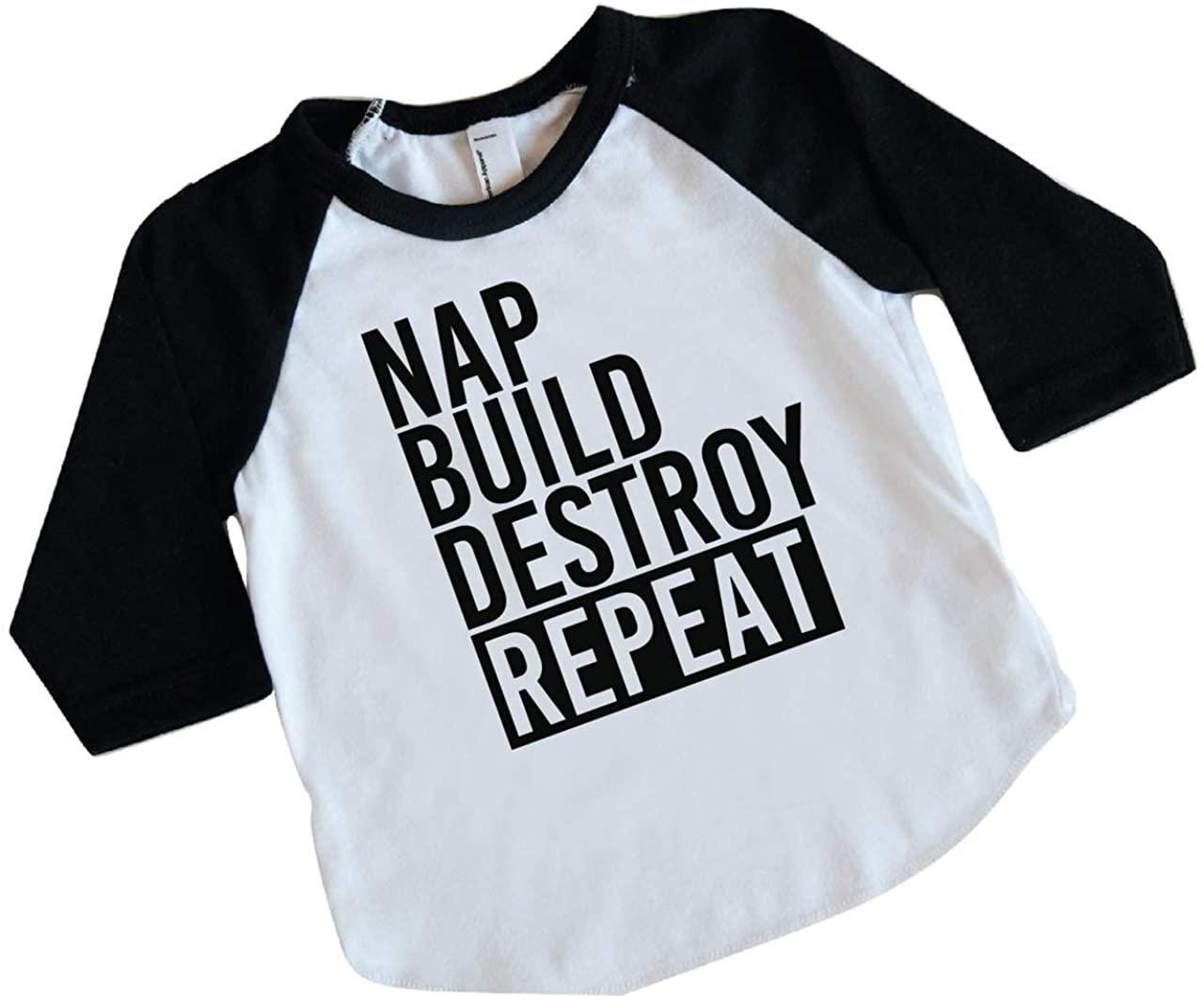 Funny Toddler Boy Shirt Nap Build Destroy Repeat Raglan