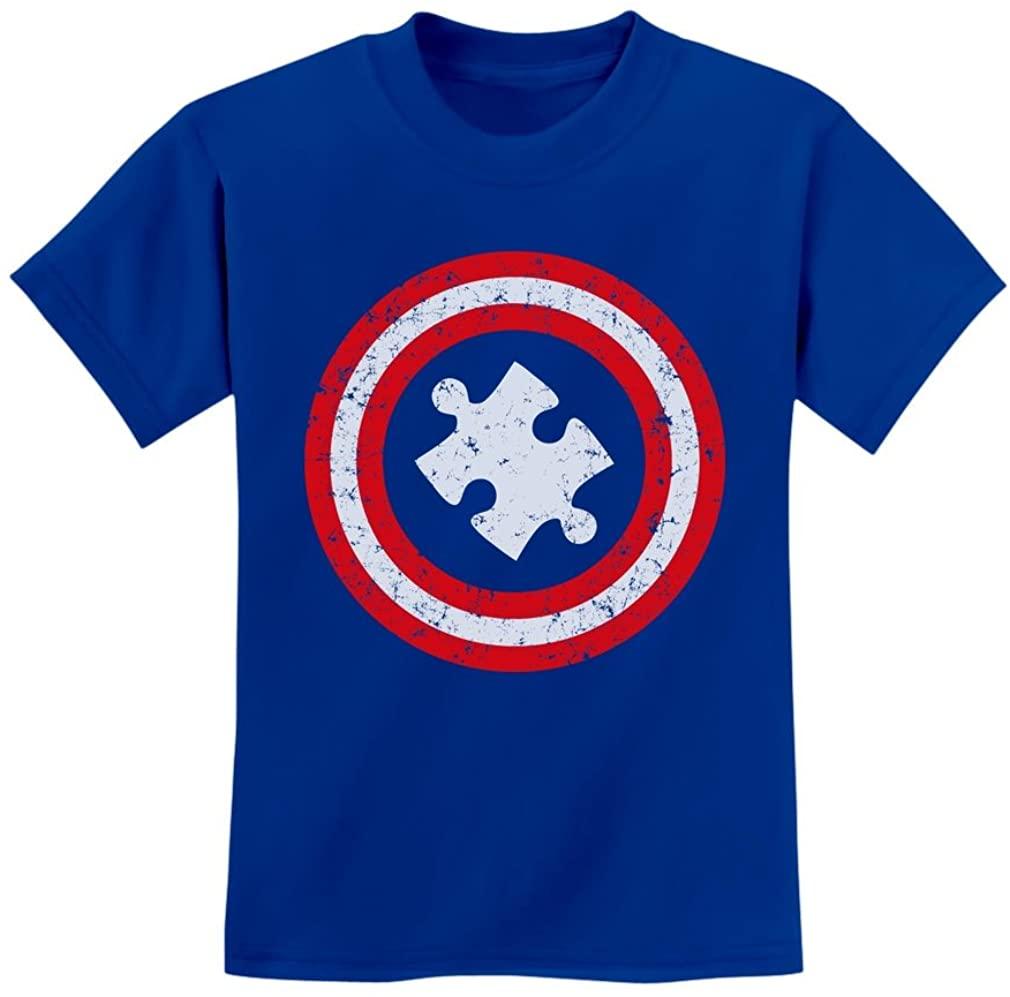Autism Awareness Kids Shirt Puzzle Superhero Captain Autism Kids T-Shirt