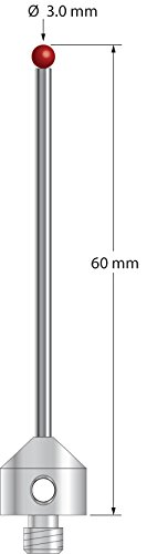 M5 Stylus with 3.0 mm Ruby Ball and Carbide Shaft, 60 mm Long