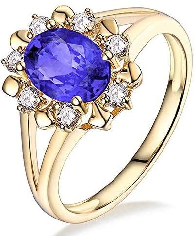 Beyond jewelry 14K White/Yellow Gold Natural AAAA+ Blue Tanzanite Diamonds Rings Band Engagement Wedding for Women