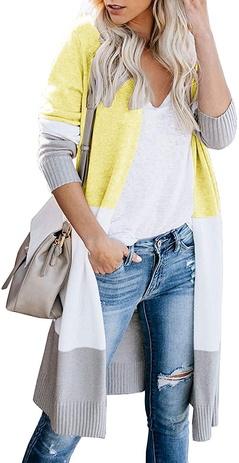 Women Open Front Knit Colorblock Cardigan Sweaters, Loose Long Sleeve Boho Striped Lightweight Casual Coat (D-Yellow, M)