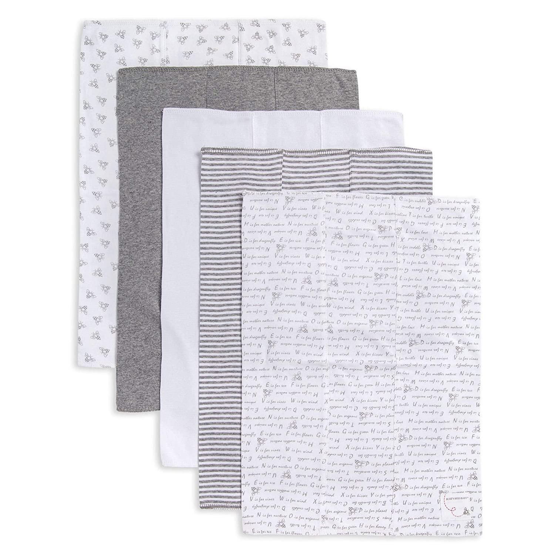 Burt's Bees Baby - Burp Cloths, 5-Pack Extra Absorbent 100% Organic Cotton Burp Cloths, Heather Grey Pattern