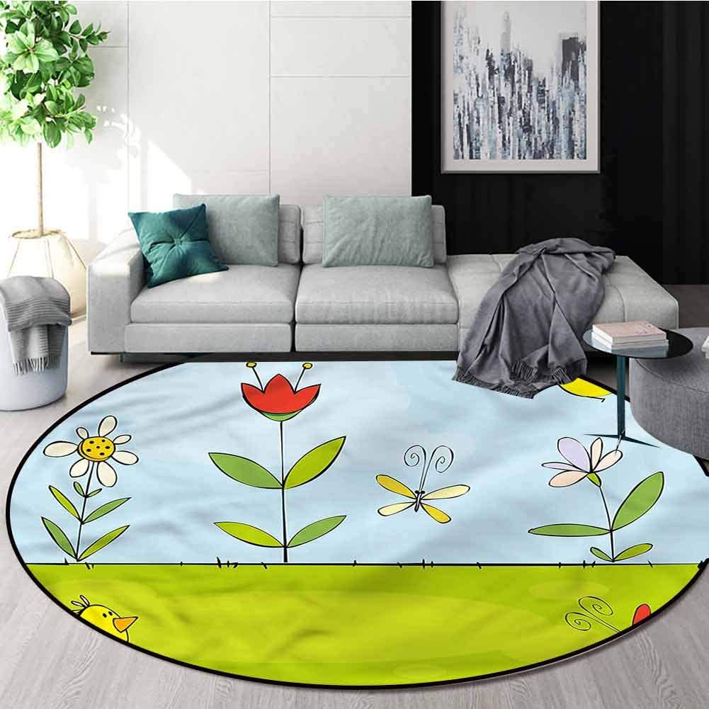 RUGSMAT Doodle Modern Vintage Rugs,Cute Birds Bugs and Flowers Green Soft Area Rugs Round-71