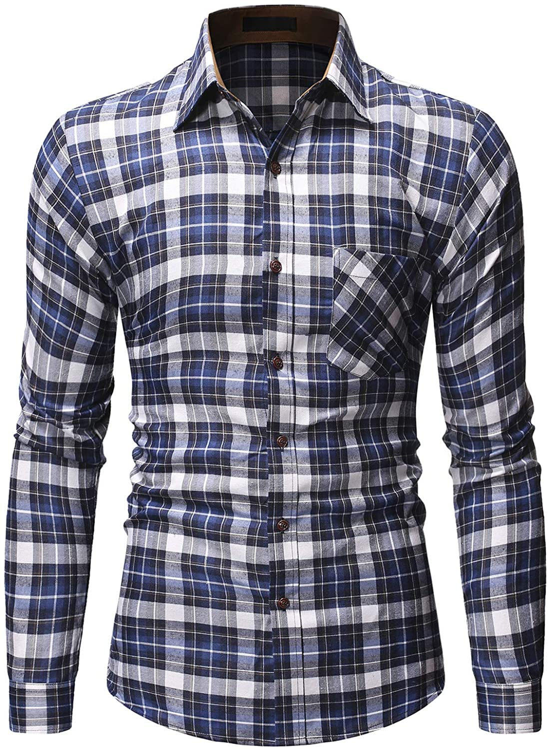 Shenglila Mens Plaid Long Sleeve Shirts Slim Fit Checkered Button Down Dress Shirt