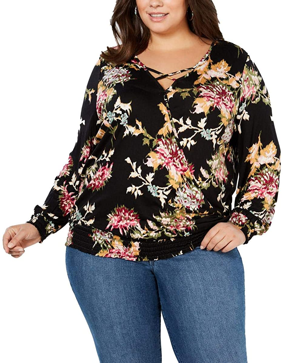 Style & Co. Womens Floral Print Smocked Wrap Top