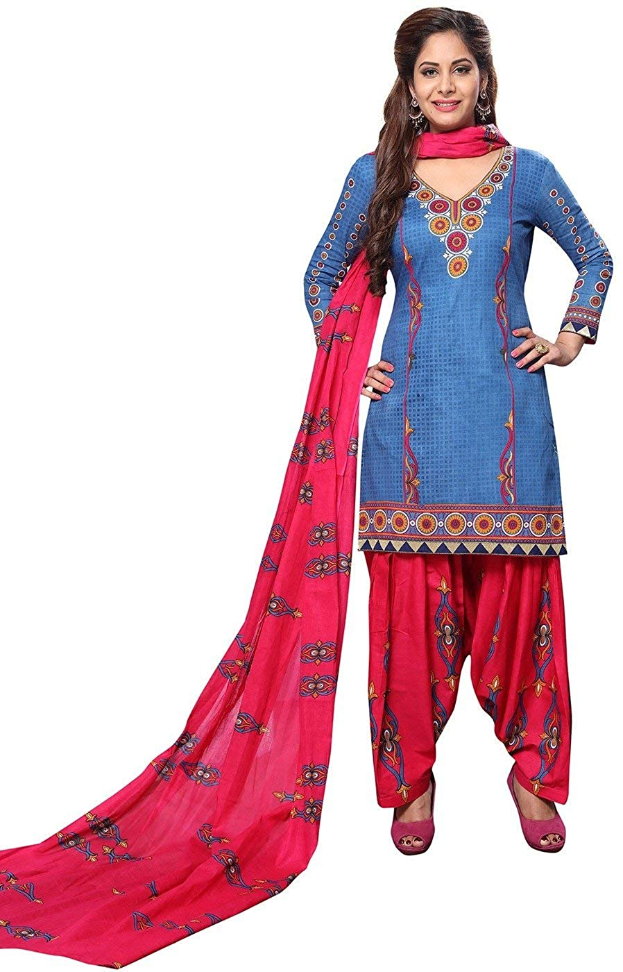 Indian Decor & Attire Women's Unstitched Cotton Printed Dress Material (P-1111_Blue & Pink_Free Size)