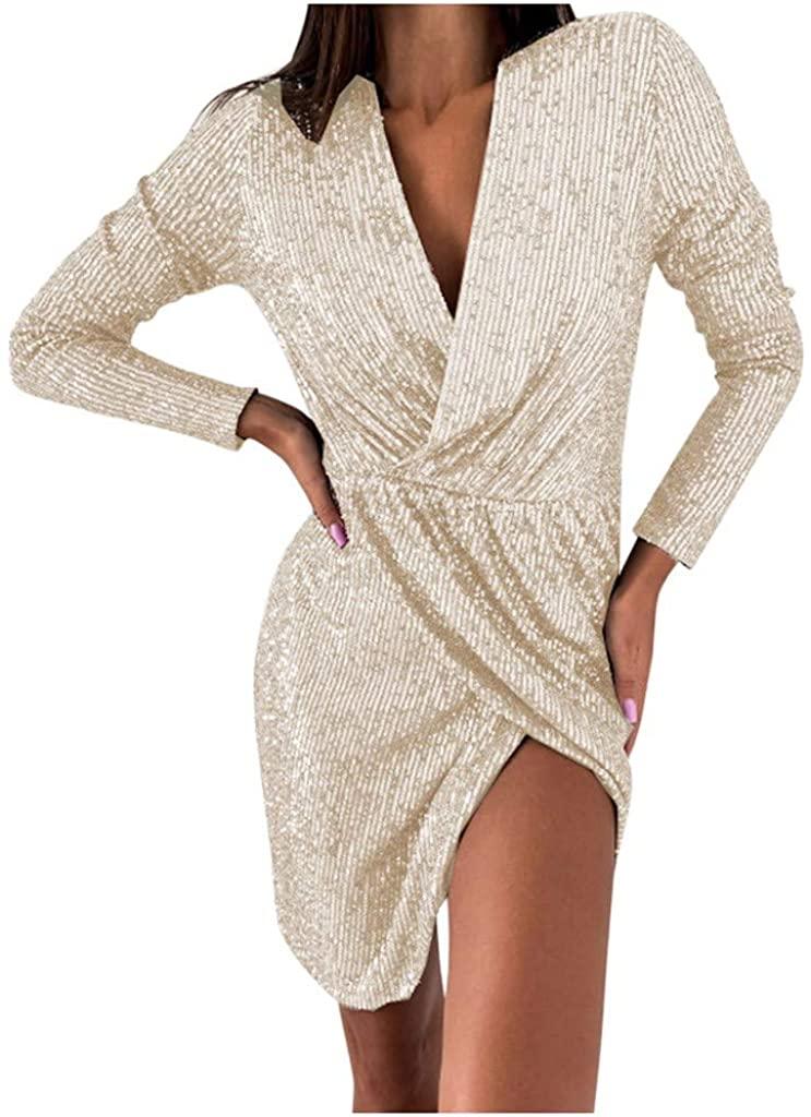 Women Wrap Dress Long Sleeve Deep V Neck Bodycon Slim Fit Cocktail Party Club Mini Dress Front Split Pencil Dresses