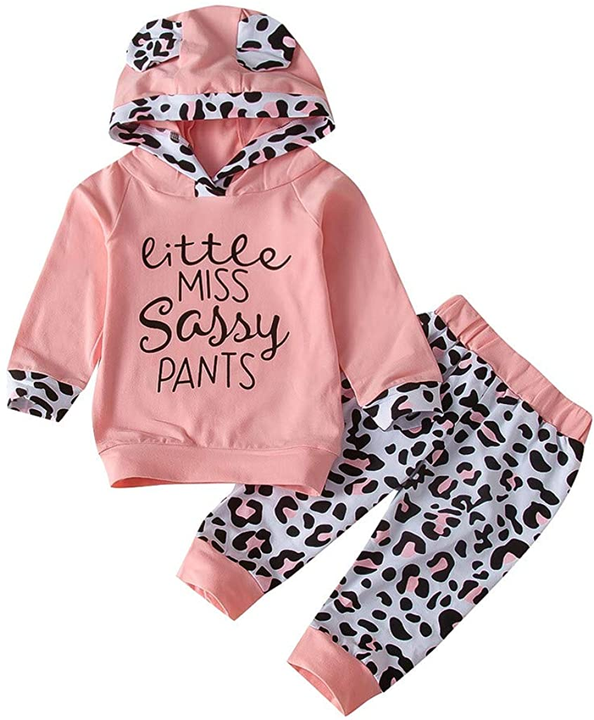 2pcs Toddler Baby Girl Leopard Clothes Letter Cartoon Hoodie Tops Elastic Long Pants Outfits Set