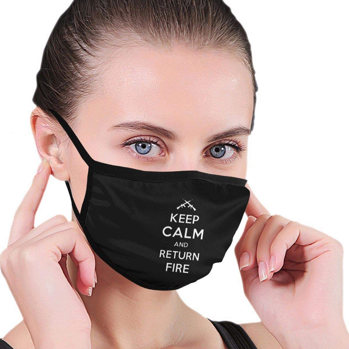 BOKUTT Fashion cartoon windbreak Face mask Dust and odor mask Keep Calm Return Fire Adult Kids Reusable Print Warm Washable Nose For Travel-Washable and reusable