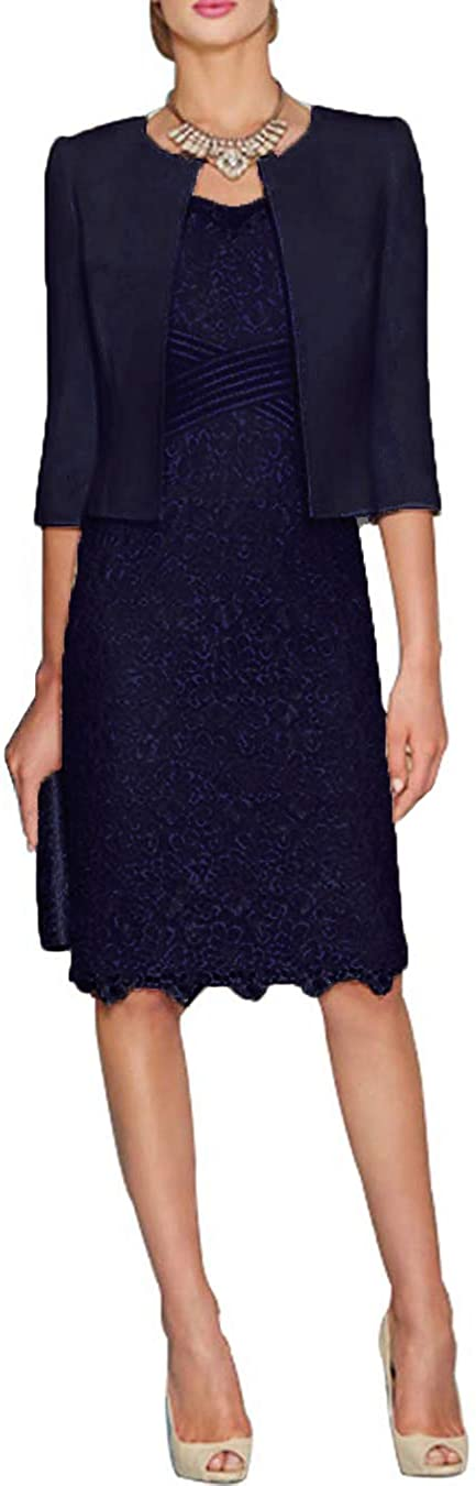 HIDRESS Women's Half Mother Of The Bride Dress Tea Length With Jacket Bq170