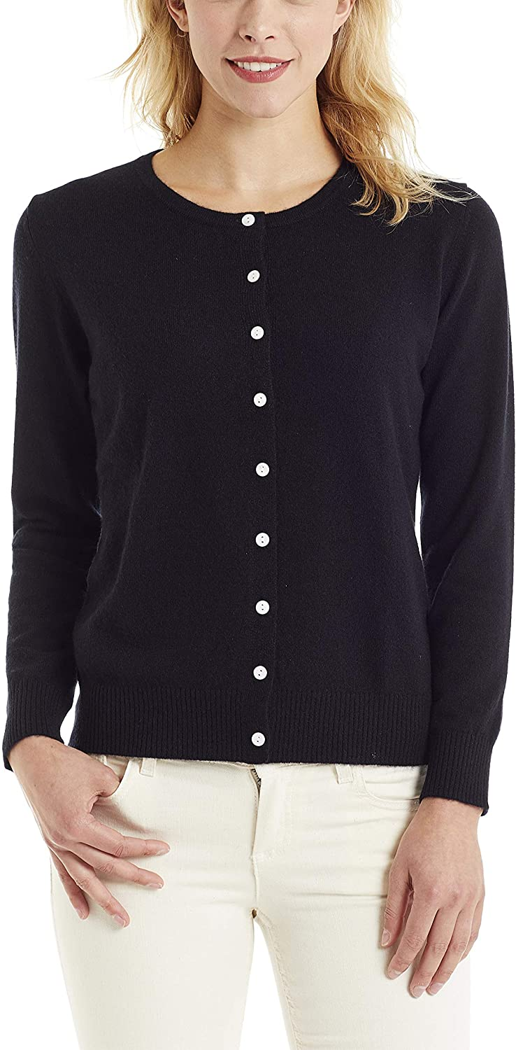 Invisible World Women's 100% Cashmere Cardigan Button Up Sweater