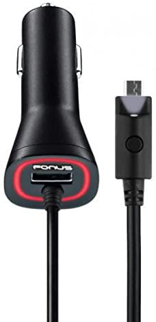 Droid Turbo 2 Compatible 3.1Amp Rapid Car Charger DC Power Adapter with USB Port Micro USB with Touch Activated LED Light Coiled Cable for Motorola Droid Turbo 2