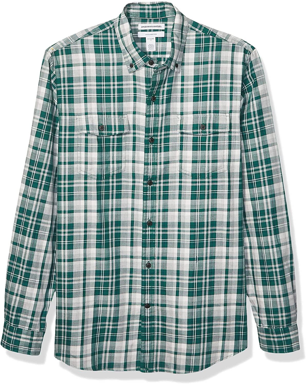 DHgate Essentials Men's Slim-Fit Long-Sleeve Plaid Two-Pocket Twill Shirt
