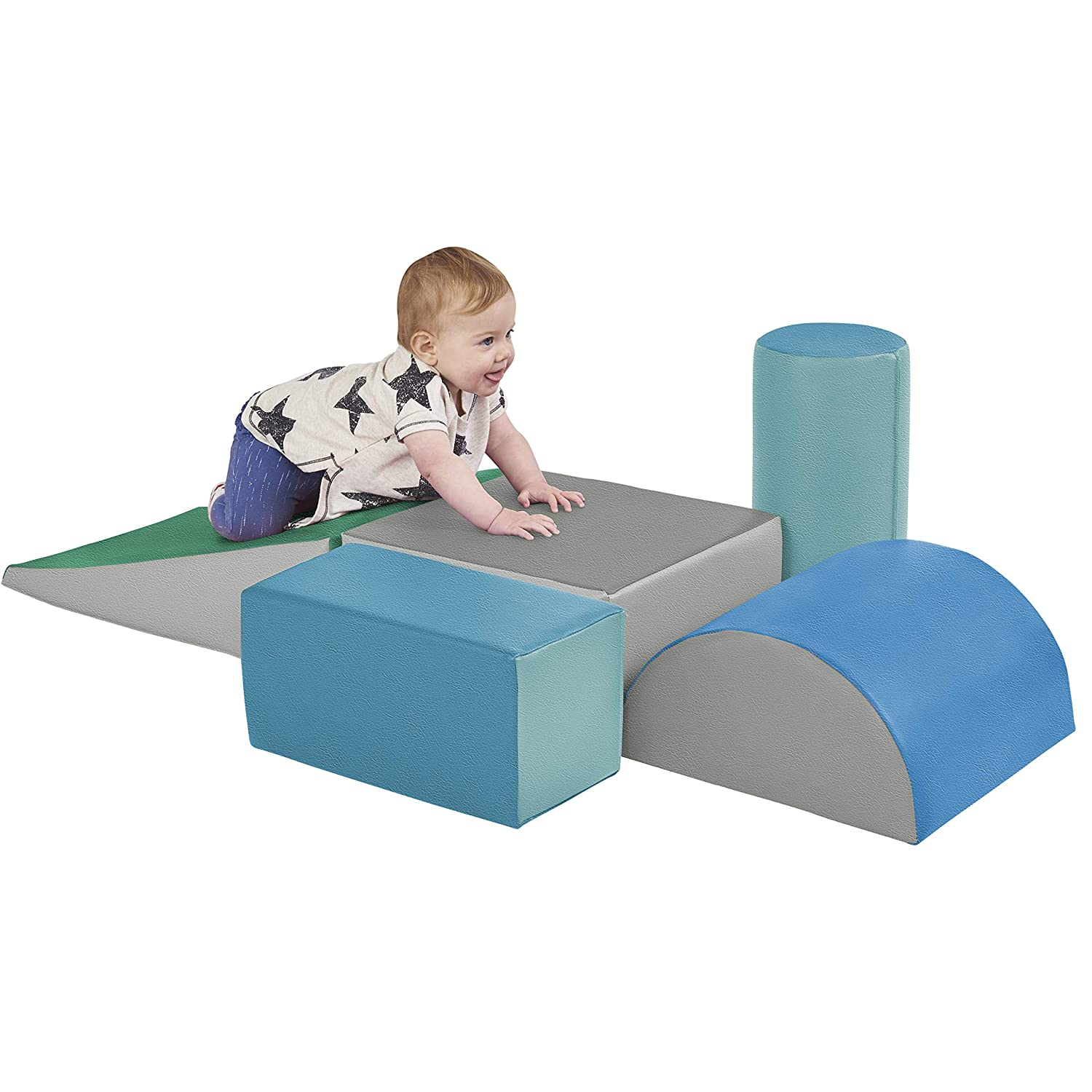 ECR4Kids ELR-12683F-CT SoftZone Climb and Crawl Activity Play Set, Lightweight Foam Shapes for Climbing, Crawling and Sliding, Safe Foam Playset for Toddlers and Preschoolers, 5-Piece Set, Contemporary