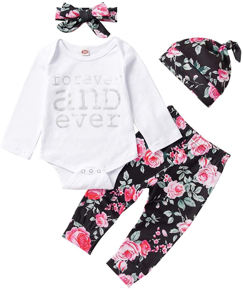 Infant Baby Girl Clothes Set Infant Outfits Cotton Romper Bodysuit Long Sleeve Floral Pants Bowknot Headband Hat 4Pcs